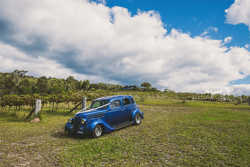 Hot Rods winery wedding car hire