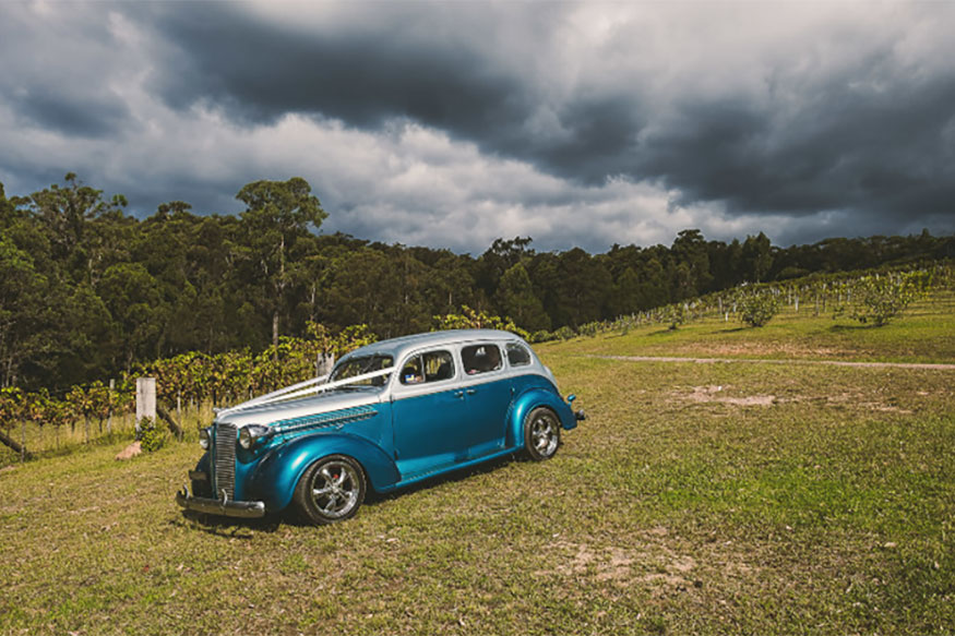 winery luxury nostalgic wedding car hire Hot Rods